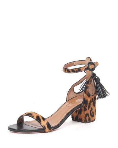 Pixie Leopard-Print Calf Hair Sandal, Caramel Leopard