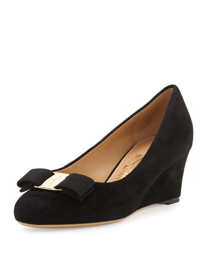 Suede Wedge Pump, Black (Nero)