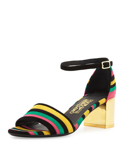 Galizia Striped Block-Heel Sandal, Multi