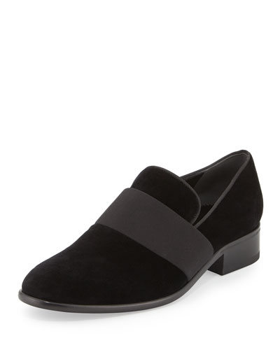 Velvet Block-Heel Ribbon Loafer, Black
