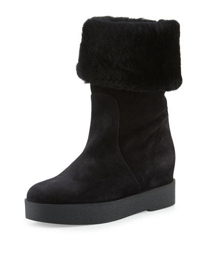 Falcon Shearling Fur-Lined Boot, Black