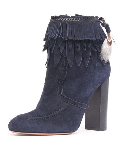 Fringed Suede Ankle Boot, Ink