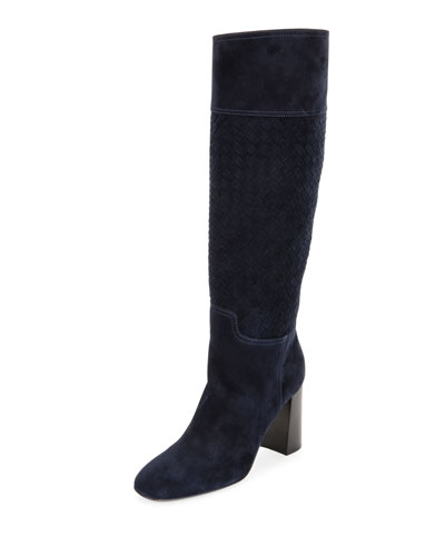 Tall Suede Block-Heel Boot, Dark Navy