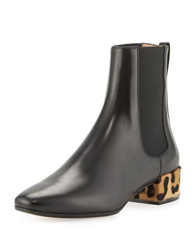 Leather Chelsea Boot w/Fur Heel, Black (Nero)