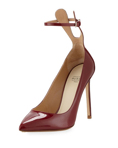Patent Ankle-Strap 105mm Pump, Amaranto