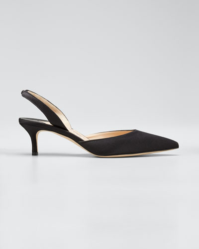 Carolyne Satin Low-Heel Slingback Pumps, Black