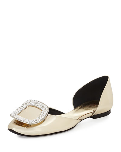 Chips Metallic Patent d'Orsay Flat, Gold