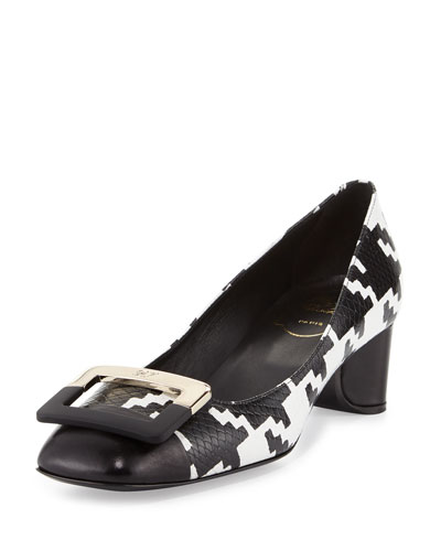 U Look Houndstooth Buckle Pump, Black/White
