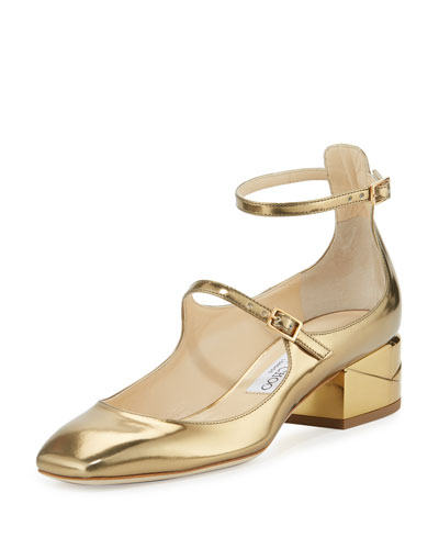 Wilbur Metallic Strappy Block-Heel Pump, Light Honey