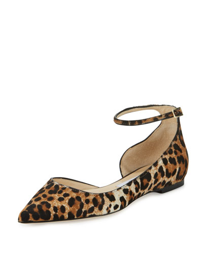 Lucy Leopard-Print Calf Hair Ankle-Strap Flat, Natural
