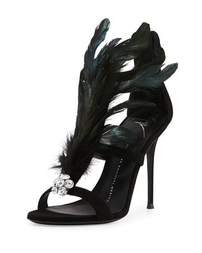 Peacock Feather 105mm Sandal, Black (Nero)