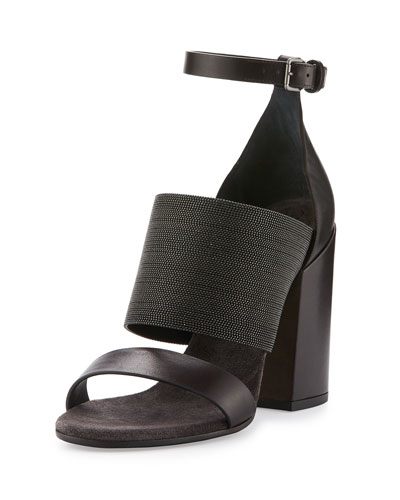 Monili Leather Block-Heel Sandal, Chocolate