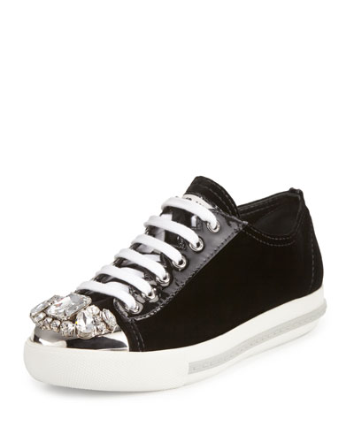 Crystal-Embellished Lace-Up Sneaker, Black