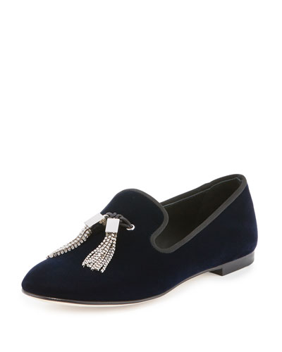 Velvet Tassel Smoking Slipper, Navy