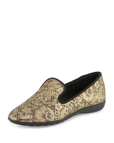 Lace-Print Leather Smoking Slipper, Gold