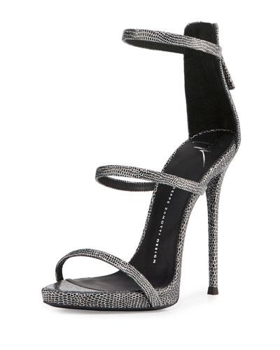 Embossed Leather Three-Strap Sandal, Black/Silver