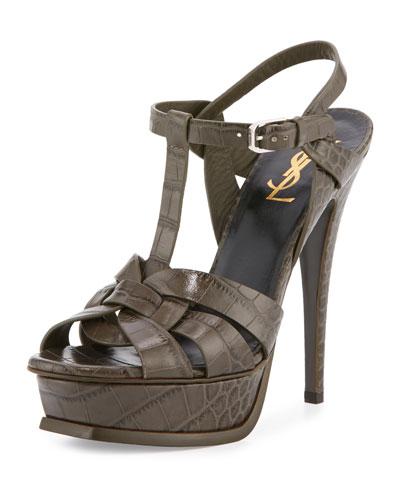 Tribute Croc-Embossed Sandal, Bronze Gray