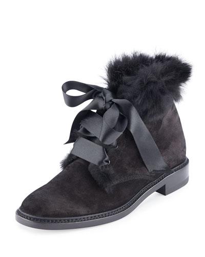 Lu Fur-Lined Suede Bootie, Black (Noir)
