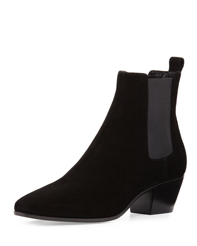 Suede Rock Chelsea Boot, Black