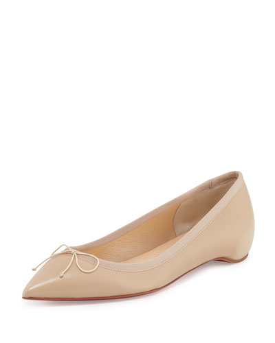 Solasofia Leather Red Sole Flat, Nude 1