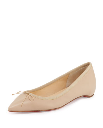 Solasofia Leather Red Sole Flat, Nude 2