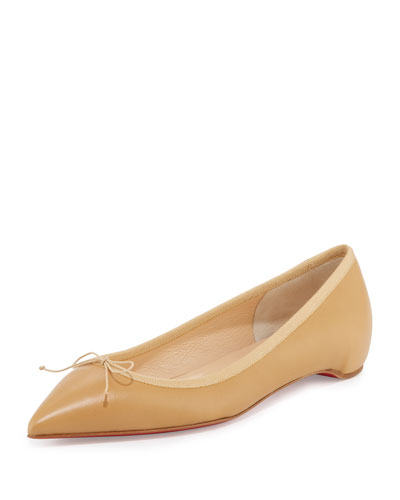 Solasofia Leather Red Sole Flat, Nude 3