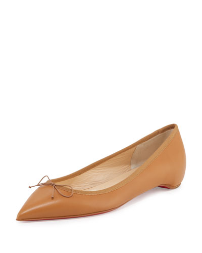 Solasofia Leather Red Sole Flat, Nude 4