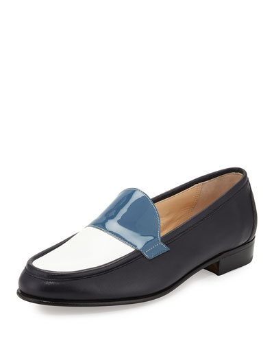 Flat Tricolor Leather Loafer