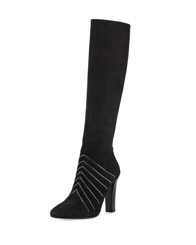 Crystal-Embellished Tall Suede Boot, Black (Noir)