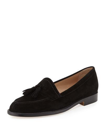 Aldena Suede Tassel Loafer, Black