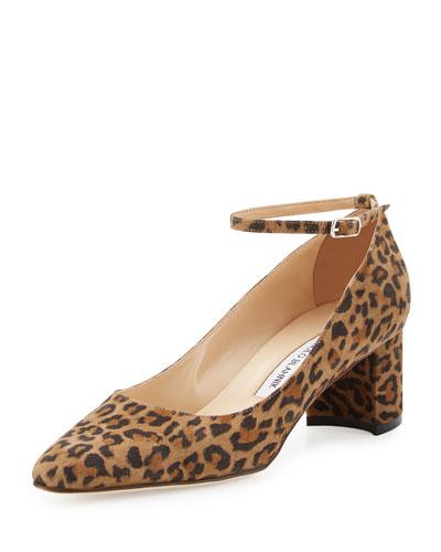 Listony Printed Suede Ankle-Strap Pump, Leopardino