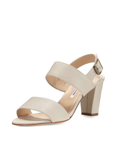 Khan Two-Band Block-Heel Sandal, Cashmere