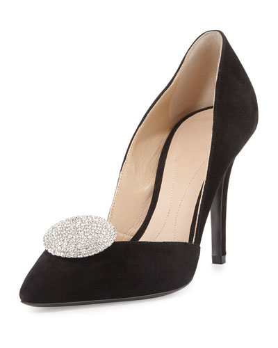 Crystal Medallion Suede Evening Pump, Black (Nero)