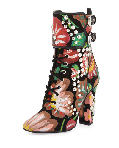 Floral-Print Leather Lace-Up Boot, Black