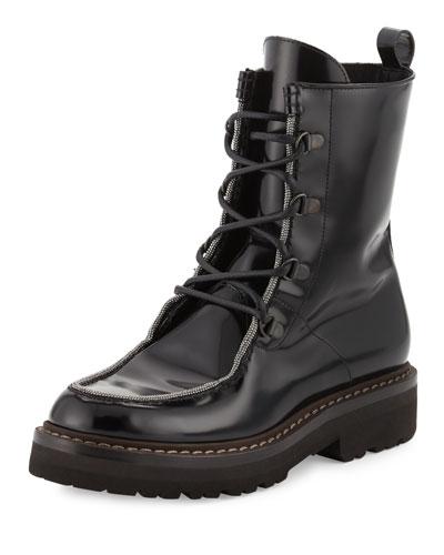 Monili-Beaded Leather Combat Boot, Black