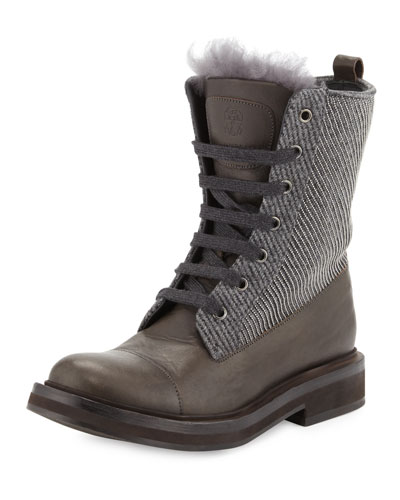 Fur-Trimmed Lace-Up Combat Boot, Graphite