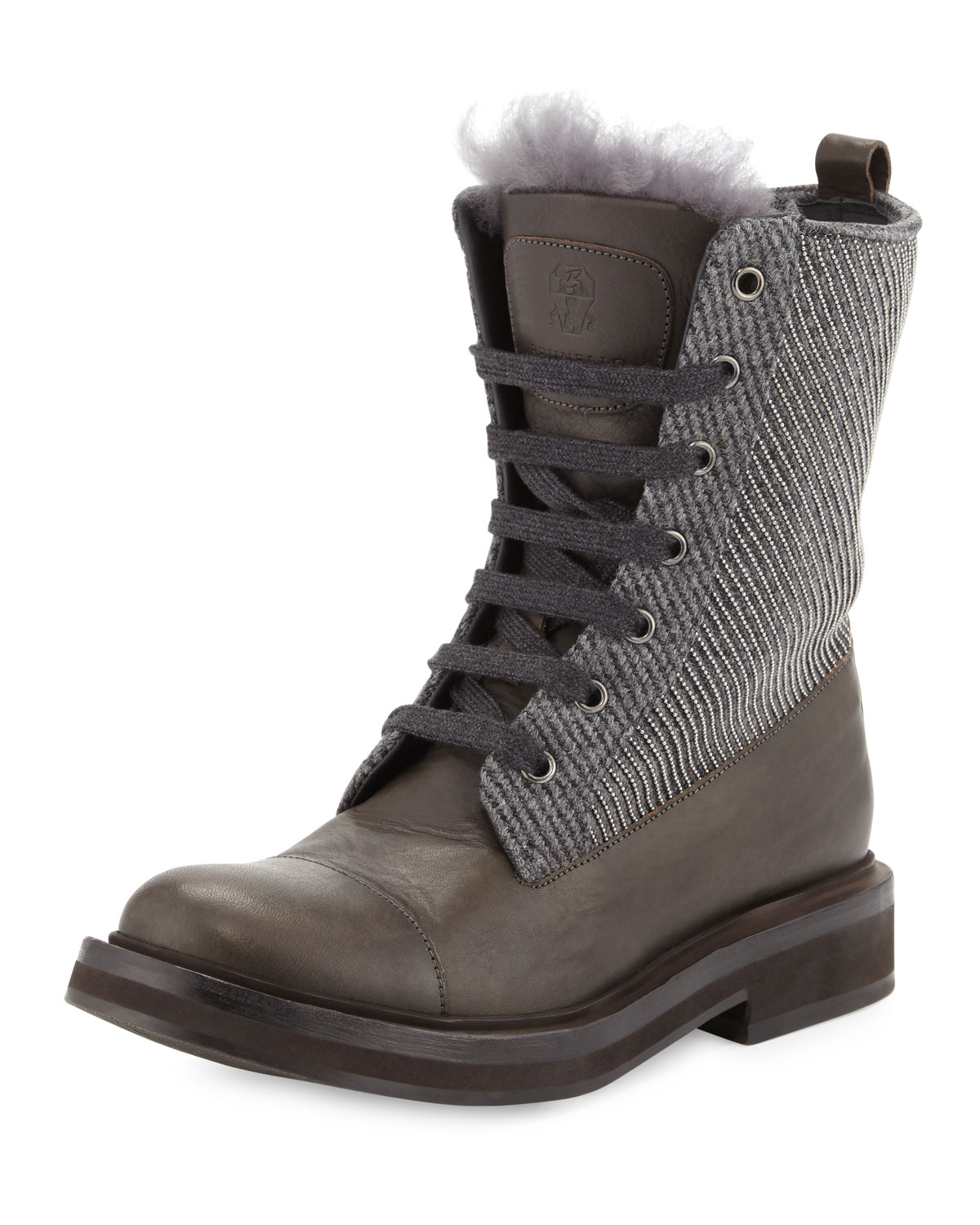 Fur-Trimmed Lace-Up Combat Boot, Graphite