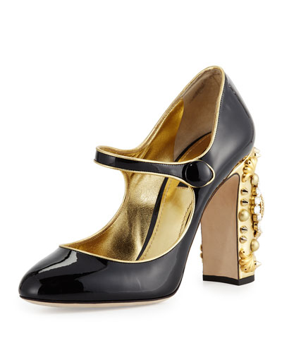 Patent Jeweled Clock-Heel Mary Jane Pump, Black/Gold