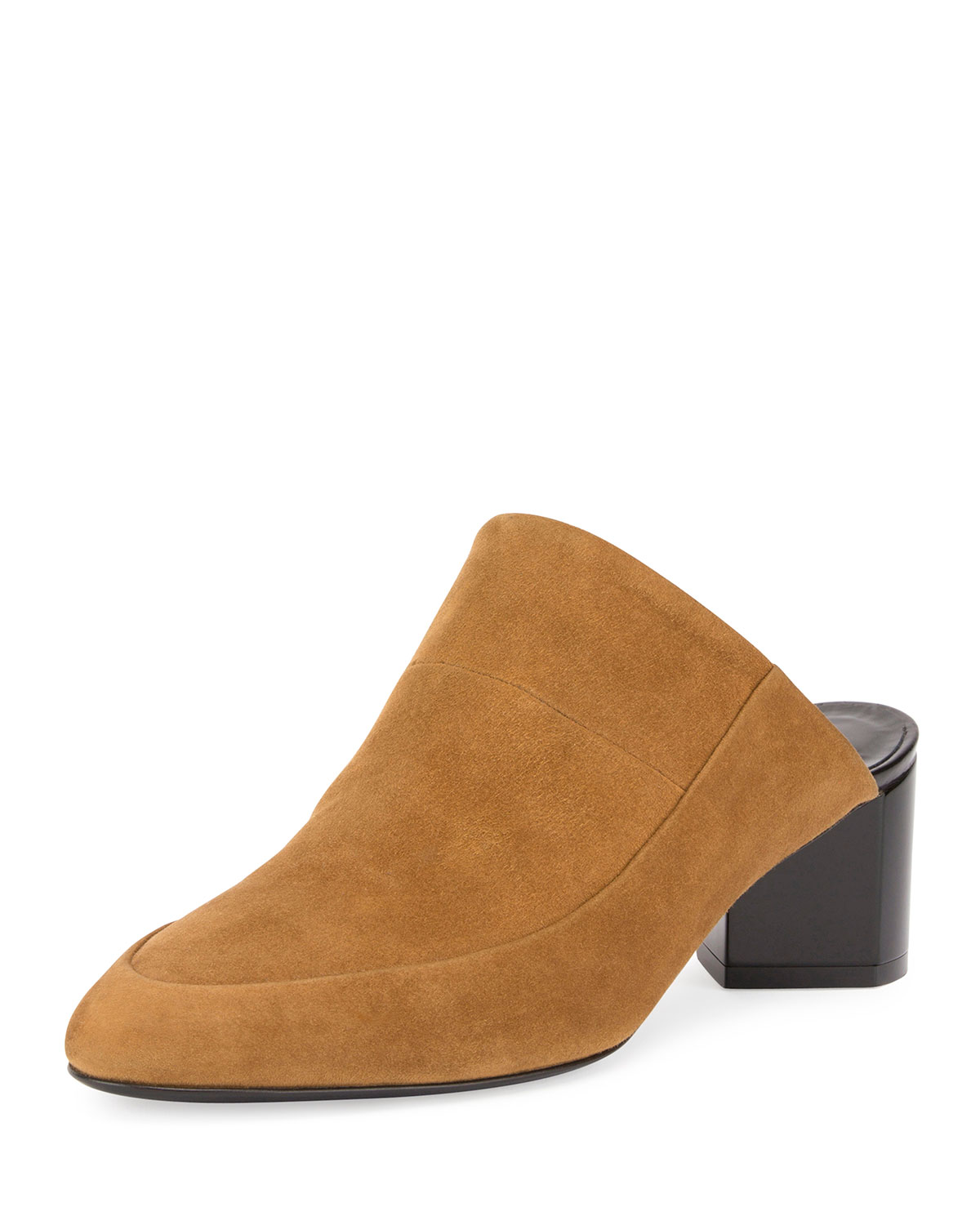 Suede Block-Heel Mule Pump, Tan