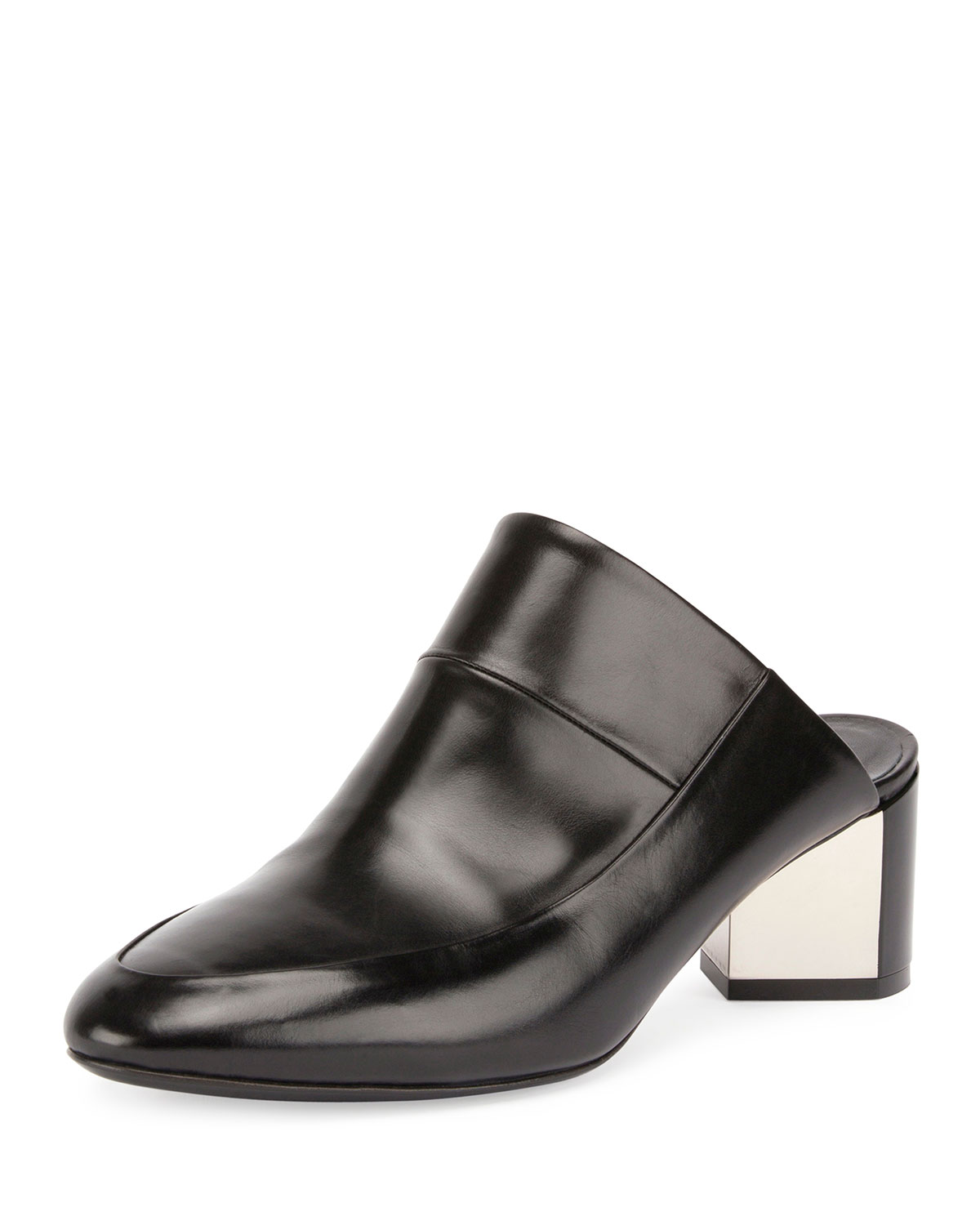 Leather Block-Heel Mule Pump, Black
