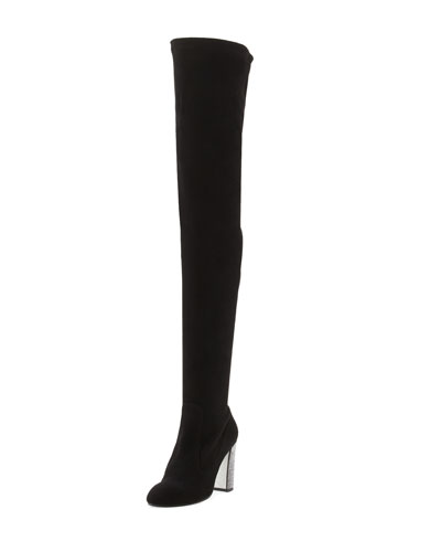 Suede Over-the-Knee Crystal-Heel Boot, Black/Jet