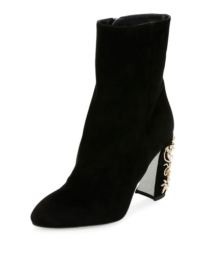 Suede Jewel-Heel 90mm Ankle Boot, Black