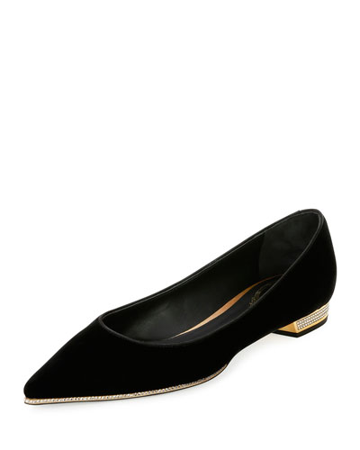 Velvet Point-Toe Jewel-Heel Flat, Black