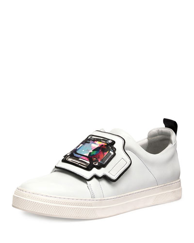 Gem Slider Leather Sneaker, White