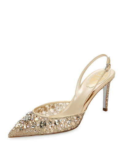 Jeweled Lace Slingback 75mm Pump, Gold