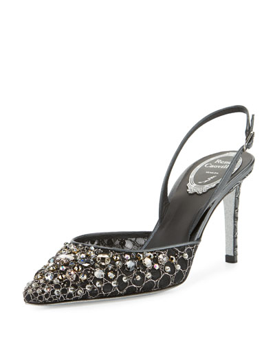 Jeweled Lace Slingback 75mm Pump, Black