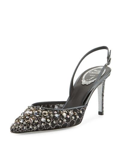 Jeweled Lace Slingback 75mm Pump, Black