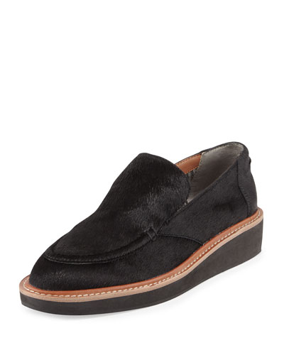 Dana Calf Hair Slip-On Loafer, Black