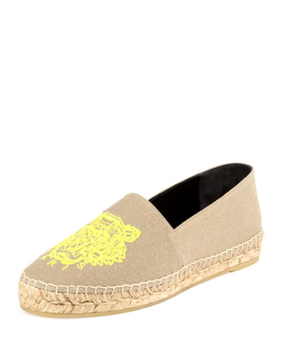 Tiger Linen Espadrille Flat, Taupe/Yellow