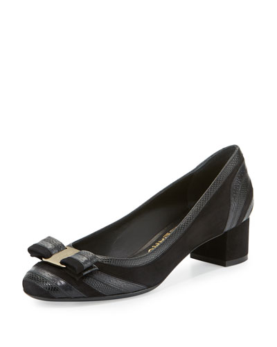 Fosca Embossed Block-Heel Pump, Black (Nero)